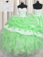 Ball Gowns Beading and Appliques and Ruffles and Pick Ups Vestidos de Quinceanera Lace Up Organza Sleeveless Floor Length