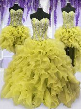 Perfect Four Piece Light Yellow Sweetheart Lace Up Beading and Ruffles Sweet 16 Dress Sleeveless