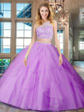 Pretty Scoop Sleeveless Beading and Ruffles Backless Quinceanera Dresses