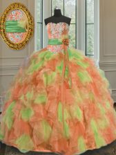 Floor Length Ball Gowns Sleeveless Multi-color Quince Ball Gowns Lace Up