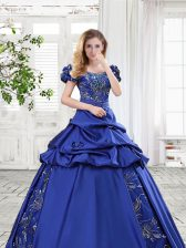 Eye-catching Off the Shoulder Cap Sleeves Floor Length Appliques and Pick Ups and Bowknot Lace Up Quinceanera Dress with Royal Blue
