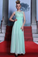 Unique Apple Green Side Zipper Scoop Beading and Ruching Dress for Prom Chiffon Sleeveless