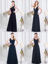 Stunning One Shoulder Ruching Quinceanera Court of Honor Dress Navy Blue Side Zipper Sleeveless Floor Length