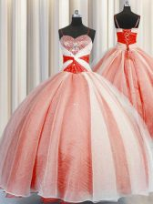 Glorious Coral Red Quinceanera Dresses Military Ball and Sweet 16 and Quinceanera with Beading and Sequins and Ruching Spaghetti Straps Sleeveless Lace Up