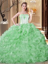 Green Sleeveless Organza Lace Up Quinceanera Dress for Military Ball and Sweet 16 and Quinceanera