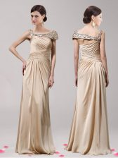 Sleeveless Elastic Woven Satin Floor Length Side Zipper Prom Evening Gown in Champagne with Beading