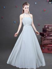 Best Selling Grey Empire Chiffon Halter Top Sleeveless Ruching Floor Length Zipper Dama Dress for Quinceanera