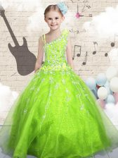 Sleeveless Beading and Appliques and Hand Made Flower Lace Up Pageant Gowns For Girls