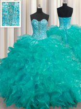 Floor Length Lace Up 15th Birthday Dress Turquoise for Military Ball and Sweet 16 and Quinceanera with Beading and Ruffles