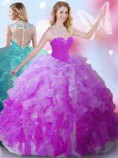 Multi-color Ball Gowns Beading Quinceanera Dresses Zipper Tulle Sleeveless Floor Length