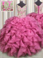 Modest V Neck Sleeveless Floor Length Beading and Ruffles Lace Up Sweet 16 Quinceanera Dress with Rose Pink
