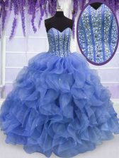 Blue Lace Up Sweetheart Beading and Ruffles Quinceanera Dresses Organza Sleeveless