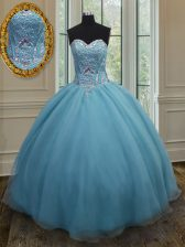 Sweet Sweetheart Sleeveless Quinceanera Dress Floor Length Beading Baby Blue Organza