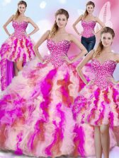 Unique Four Piece Floor Length Multi-color Sweet 16 Quinceanera Dress Sweetheart Sleeveless Lace Up