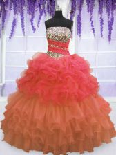 Floor Length Lace Up Quinceanera Gown Multi-color for Military Ball and Sweet 16 and Quinceanera with Beading and Ruffled Layers and Pick Ups