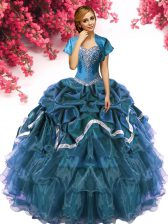 Noble Sleeveless Floor Length Beading and Ruffles and Pick Ups Lace Up Quinceanera Dress with Teal