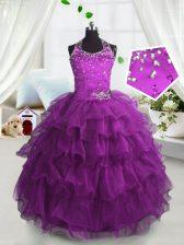 Scoop Floor Length Fuchsia Little Girl Pageant Dress Organza Sleeveless Beading and Ruffled Layers