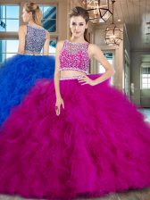Beading and Ruffles Quince Ball Gowns Fuchsia Side Zipper Sleeveless With Brush Train