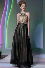 Halter Top Sleeveless Chiffon Floor Length Side Zipper Dress for Prom in Black with Beading