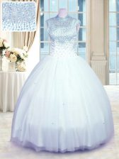 Sophisticated Baby Blue Sleeveless Tulle Zipper Ball Gown Prom Dress for Military Ball and Sweet 16 and Quinceanera