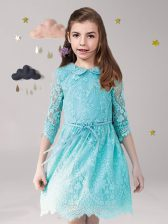Trendy Scoop Aqua Blue 3 4 Length Sleeve Mini Length Lace and Sashes ribbons Zipper Flower Girl Dresses