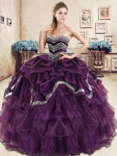 Decent Purple Ball Gowns Organza Sweetheart Sleeveless Beading and Ruffled Layers and Pick Ups Floor Length Lace Up Quinceanera Gowns