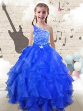 Royal Blue Ball Gowns Organza One Shoulder Sleeveless Beading and Ruffles Floor Length Lace Up Girls Pageant Dresses