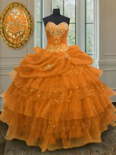 Pick Ups Ruffled Ball Gowns Sweet 16 Quinceanera Dress Orange Sweetheart Organza Sleeveless Floor Length Lace Up
