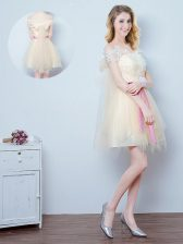 Fancy Off The Shoulder Short Sleeves Tulle Court Dresses for Sweet 16 Lace and Appliques and Ruffles and Bowknot Lace Up