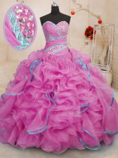 Fabulous With Train Lace Up Ball Gown Prom Dress Rose Pink for Military Ball and Sweet 16 and Quinceanera with Beading and Ruffles Brush Train