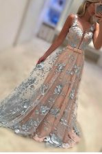 Bateau Sleeveless Prom Dresses With Train Sweep Train Lace and Bowknot Peach Lace