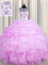 Modest See Through Pick Ups Lilac Sleeveless Organza Lace Up 15 Quinceanera Dress for Military Ball and Sweet 16 and Quinceanera