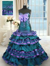 Traditional Ruffled Layers Peacock Green Sleeveless Taffeta Sweep Train Lace Up Quinceanera Dresses for Military Ball and Sweet 16 and Quinceanera