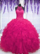 Hot Pink Sleeveless Organza Lace Up Quinceanera Dress for Military Ball and Sweet 16 and Quinceanera