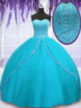 Aqua Blue Sleeveless Floor Length Beading and Sequins Backless Quinceanera Dresses