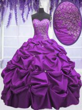 Purple Taffeta Lace Up Sweetheart Sleeveless Floor Length Sweet 16 Quinceanera Dress Appliques and Pick Ups