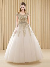 Glorious Scoop Tulle Short Sleeves Floor Length Quinceanera Dress and Beading and Appliques