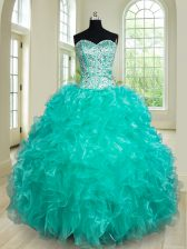 Sweet Turquoise Sleeveless Organza Lace Up Quinceanera Dresses for Military Ball and Sweet 16 and Quinceanera