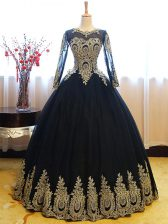 Chic Scoop Sleeveless Tulle Floor Length Lace Up Quinceanera Gowns in Navy Blue with Appliques