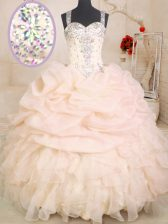 Romantic Pink Ball Gown Prom Dress Military Ball and Sweet 16 and Quinceanera with Beading and Ruffles and Pick Ups Straps Sleeveless Zipper