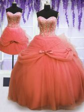 Customized Three Piece Watermelon Red Sleeveless Floor Length Beading and Bowknot Lace Up Sweet 16 Quinceanera Dress