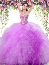 Glamorous Tulle Sleeveless Floor Length Vestidos de Quinceanera and Beading and Ruffles