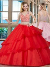 Beauteous Organza Sleeveless With Train Quinceanera Dress Brush Train and Beading