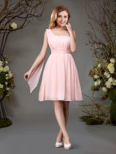 One Shoulder Pink Zipper Court Dresses for Sweet 16 Beading and Ruching Sleeveless Mini Length