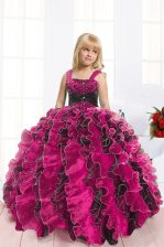 Black and Hot Pink Lace Up Girls Pageant Dresses Beading and Ruffles Sleeveless Floor Length