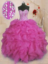 Dynamic Sleeveless Lace Up Floor Length Beading and Ruffles Quinceanera Gowns