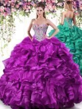 Beading and Ruffles Sweet 16 Dress Purple Lace Up Sleeveless Floor Length