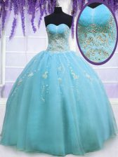 Inexpensive Baby Blue Sleeveless Organza Zipper Sweet 16 Dress for Military Ball and Sweet 16 and Quinceanera