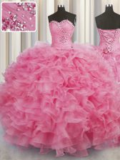 Rose Pink Sleeveless Floor Length Beading and Ruffles Lace Up Quinceanera Gown
