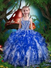 Sleeveless Organza Floor Length Lace Up Little Girl Pageant Dress in Royal Blue with Beading and Ruffles